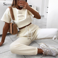 2019 Autumn Women Leisure 2 Pieces Sets Spliced Sweat Shirt Full Length Harem Pants Oversize Elastic Waist Tracksuits Outfiits - Creative Dreamscape