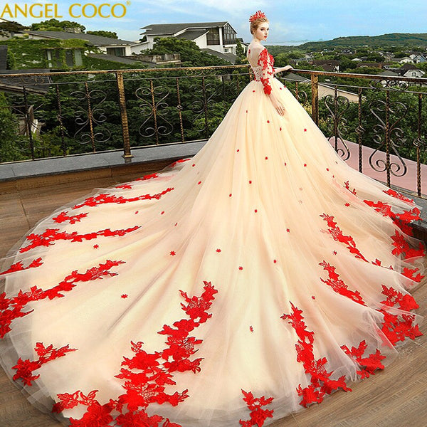 Dubai Sweetheart White Red Luxury Wedding Dresses 2020 Embroidery Off Shoulder Bridal Gowns Custom Made Vestido De Casamento - Creative Dreamscape