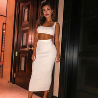 NewAsia Garden Two Piece Set 2 Piece Set Women Winter Ribbed Crop Top And Skirt Set Matching Sets Woman Two Pieces Outfits White - Creative Dreamscape