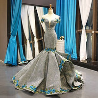 Elegant Sexy Evening Dresses Long Luxury Embroidery Designer Gray Red Evening Gowns Prom Dresses 2020 Vestido De Noche Sukienki - Creative Dreamscape