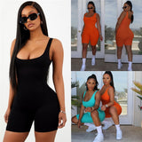 2019 Sexy Women Sleeveless Romper Jumpsuit Bodycon Bodysuit Slim Fit Sports Short Pants Clubwear Backless Biker Shorts Playsuit - Creative Dreamscape