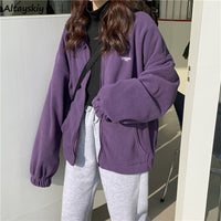 Jackets Women Loose Plus Velvet Zip-up Pockets Letter Casual Oversize BF Ulzzang Harajuku Daily Streetwear Womens Trendy New Hot - Creative Dreamscape