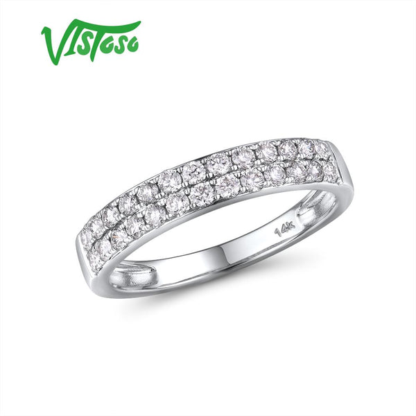 VISTOSO Genuine 14K 585 White Gold Sparkling Diamond Delicate Ring For Women Anniversary Engagement Fashion Trendy Fine Jewelry - Creative Dreamscape