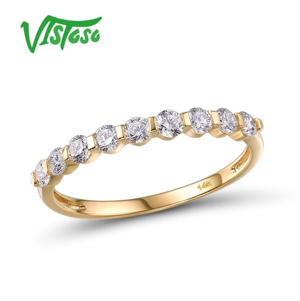 VISTOSO Gold Ring For Women Genuine 14K 585 Yellow Gold Ring Sparkling Diamond Promise Engagement Rings Anniversary Fine Jewelry - Creative Dreamscape