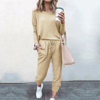 2020 Spring Autumn Tracksuit Women 2 Piece Set Loose Comfortable Simple Style Solid Color Long Sleeve Casual Suit Clothes S-XXL - Creative Dreamscape
