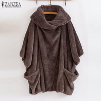 ZANZEA Women Fluffy Coat Oversized Long Sleeve Jackets Female Button Outwear Winter Warm Poncho Solid Autumn Top Lady Jumpers - Creative Dreamscape