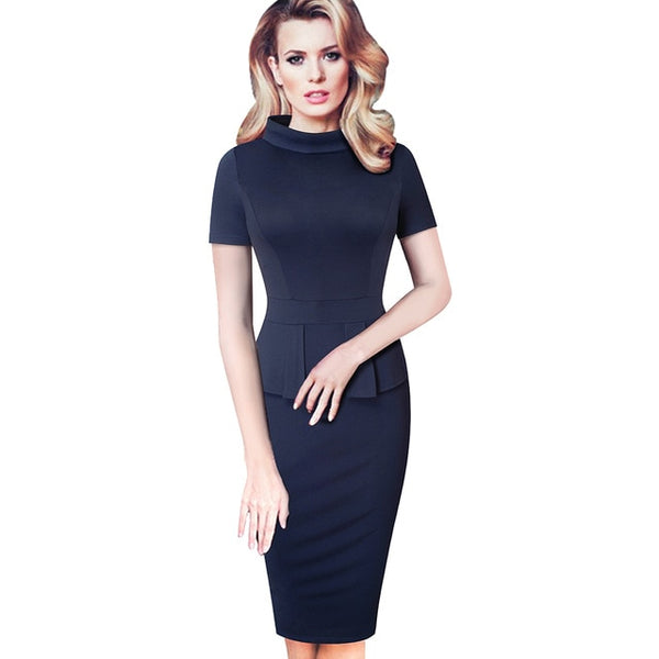 Nice-forever Vintage Pure Color Peplum Work Dresses Business Bodycon Sheath Women Summer Dress B590 - Creative Dreamscape