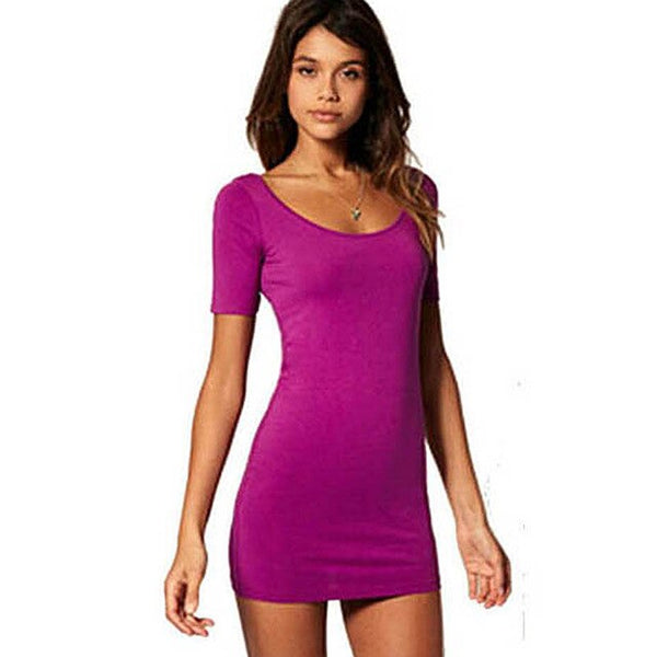 Nice-forever Summer Sexy Wide Neckline Dresses Club Party Bodycon Sheath Women dress 558 - Creative Dreamscape