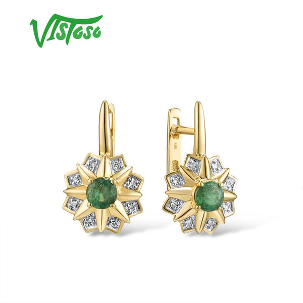 VISTOSO Gold Earrings For Women 14K 585 Yellow Gold Sparkling Emerald Luxury Diamond Wedding Anniversary Elegant Fine Jewelry - Creative Dreamscape