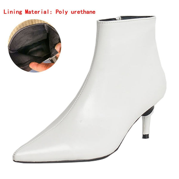 Autumn and winter new style with fine pointed high heels Martin boots white boots leather boots Women's boots spring wedgie - Creative Dreamscape