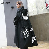XITAO Spliced Plus Size Black Trench For Women Tide Long Print Streetwear Hoodie Casual Female Wide Waisted Coat 2019 ZLL1100 - Creative Dreamscape