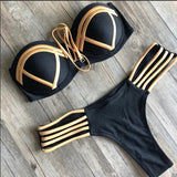 Black Bandage Swimsuit 2020 Sexy Brazilian Bikini Push Up Swimwear Women Micro Bikinis Plus Size Beachwear Shiny Gold Beachwear - Creative Dreamscape