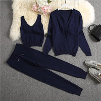 ALPHALMODA 2020 Spring Candy Color Knitted Cardigans + Camisole + Pants 3pcs Fashion Suit Women Seasonal Stylish Clothes Set - Creative Dreamscape