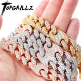 TOPGRILLZ 16mm Miami New Box Clasp Cuban Link Chain Gold Silver Color Necklace Iced Out Cubic Zirconia Bling Hip hop Jewelry - Creative Dreamscape