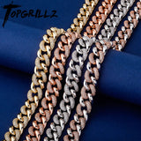 TOPGRILLZ Gold-plate Men's 16mm Miami Cuban Chain Iced Out Zircon Necklace Hip Hop Fashion Jewelry - Creative Dreamscape