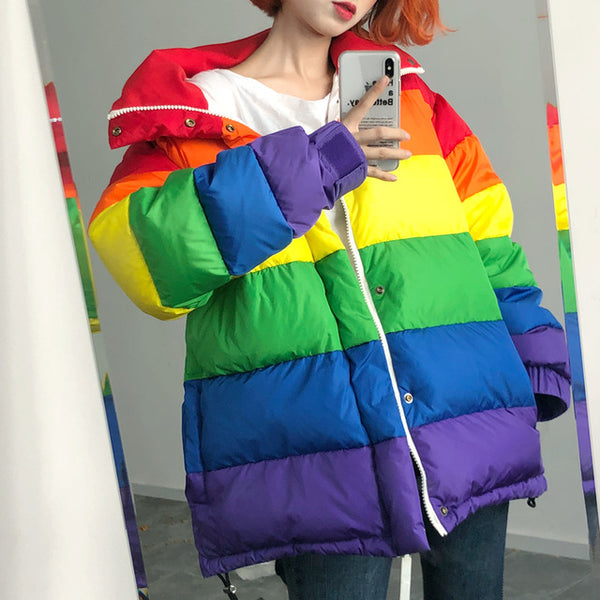 U-SWEAR Harajuku Winter Casual Jacket Women Rainbow Wadded Parka Plus Size Loose Striped Coat Femme Chaqueta Mujer - Creative Dreamscape