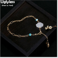Uglyless 14K Filled Gold 9K Gold Bracelets for Women Natural Jade Cloud Jewelry Ethnic Tassel Bracelet Bohemia Turquoise Bangles - Creative Dreamscape