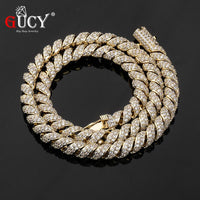 GUCY 10MM Men Zircon Curb Cuban Link Necklace Hip hop Jewelry Gold Silver Color Thick Heavy Copper Material Iced CZ Necklace - Creative Dreamscape