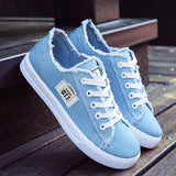 Canvas shoes woman 2020 new arrival Lace-up Spring/autumn Sneakers for girls Fashion Denim solid Blue/White casual shoes Tennis - Creative Dreamscape