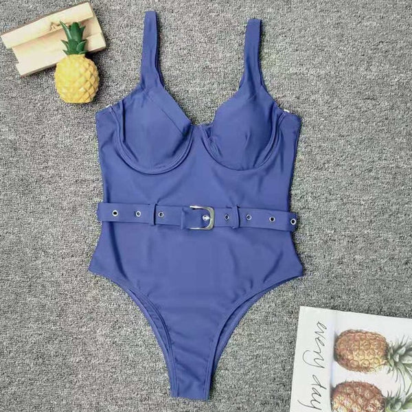 Women Blue Swimwear Sexy Push Up One Piece Swimsuit Female Bather With Belt Bathing Suit Swim Wear Monokini Lady - Creative Dreamscape