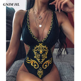 GNIM One Piece Bikini Swimwear Women 2020 Sexy V Neck Print Swimsuit Female Summer New Backless Bathing Suit Brazilian Biquini - Creative Dreamscape