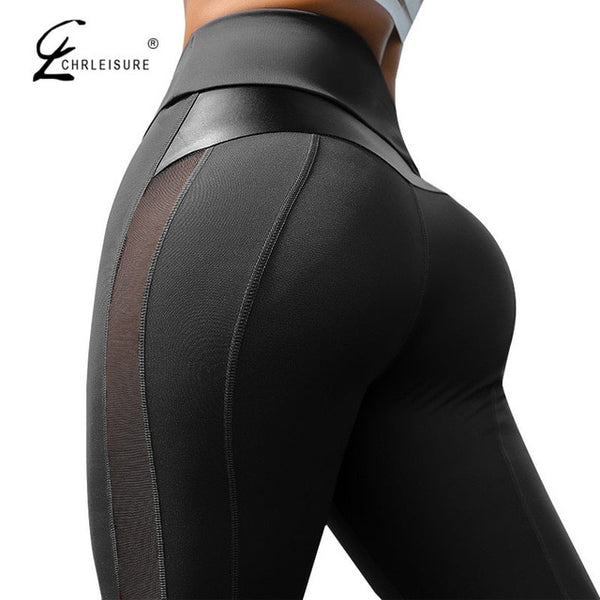 CHRLEISURE High Waist Fitness Leggings Women for Leggings Workout Women Mesh And PU Leather Patchwork Joggings S-XL - Creative Dreamscape