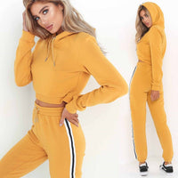 Tracksuit 2pcs Women Set Hoodies Crop Top Sweatshirt+Side Stripe Pants Hooded 2 Pieces Sets Women Clothing Suits Female - Creative Dreamscape