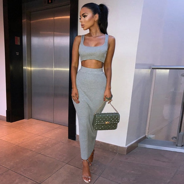 women ribbed knit two piece set long skirt crop tank top sexy elegant festival matching co ord clothes party 2019 summer outfits - Creative Dreamscape