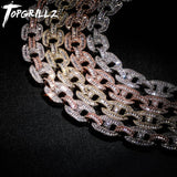 TOPGRILLZ Miami 14mm Big Box Clasp Cuban Link Necklace Charm Gold Silver Plated Iced Out Baguette Zircon Men's Hip Hop Jewelry - Creative Dreamscape