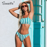 SEASELFIE Sexy Blue and White Striped Bandeau Tank Bikini Sets Swimsuit Two Pieces Swimwear Women 2020 Beach Bathing Suit - Creative Dreamscape