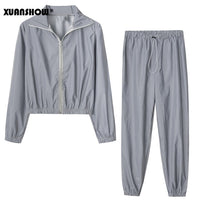 XUANSHOW Women Windbreak Set Reflective Two Piece Set Casual Hip Hop Jackets Night Light Clothes Long Pant Suit 2019 Plus Size - Creative Dreamscape