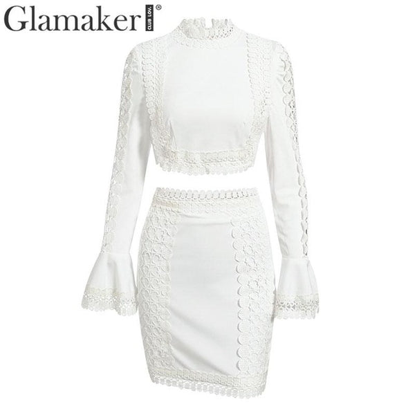 Glamaker Lace patchwork white bodycon mini dress Women flare sleeve crop summer dress 2020 Elegant short sexy party club dress - Creative Dreamscape