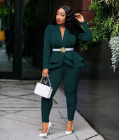 New Women Winter Women's Set Tracksuit Full Sleeve Ruffles Blazers Pencil Pants Suit Two Piece Set Office Lady Outfits Uniform - Creative Dreamscape