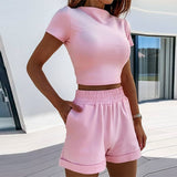 Women's 2-Piece Outfit Set Cozy Sport Fitness Set Solid Color Round Neck Crop Short Sleeve Top Short High Waist Pants Set - Creative Dreamscape