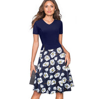 Nice-forever Retro Elegant Floral Printed Dresses Business Party Flare Women Summer Dress btyA137 - Creative Dreamscape