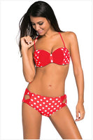 Free shipping Black/Red/Blue White Dots Bow Detail High Waist Bathing Suit LC41926 - Creative Dreamscape