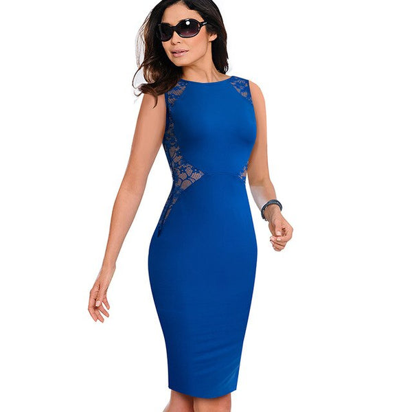 Nice-forever Elegant Blue Lace Patchwork Dresses Business Party Bodycon Women Summer Dress btyB17 - Creative Dreamscape