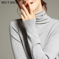 WOTWOY Autumn Winter Basic Knitted Turleneck Sweater Women Slim Fit Long Sleeve Cashmere Sweaters Women White Pink Pull Femme - Creative Dreamscape