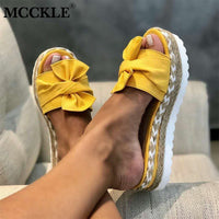 MCCKLE Slippers Women Slides Bow Summer Sandals Bow-Knot Slippers Thick Soles Flat Platform Female Floral Beach Shoes Flip Flops - Creative Dreamscape
