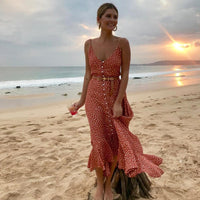 Women's Boho Maxi Dress Girls Summer Spaghetti Strap Sweet Dot Long Dress Ladies Beach Sundress Vestido De Mujer 2020 Hot Sale - Creative Dreamscape