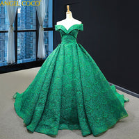 Off Shoulder Sexy Green Luxury Evening Dresses 2020 Fashion Formal Evening Gowns Long Elegant Prom Dress Party Abendkleider Robe - Creative Dreamscape