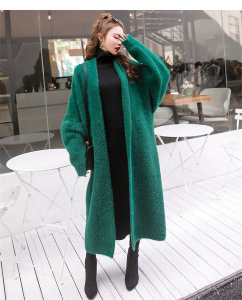 Synthetic Mink Cashmere Sweater Cardigan Women Korean Winter Coat Batwing Sleeve Knitted Long Cardigan Thick Plus Size Sweaters - Creative Dreamscape