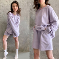 Womens Tracksuits 2 Piece Set Summmer Autumn Oversize Sweatshirt + Sporting Shorts Sweat Set Two Piece Outfit Solid Color Sets - Creative Dreamscape