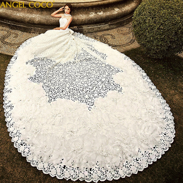 Royal Arabic Dubai Luxury Wedding Dress 2020 Off Shoulder Church Gowns Openwork Embroidery Handmade white bride wedding gowns - Creative Dreamscape