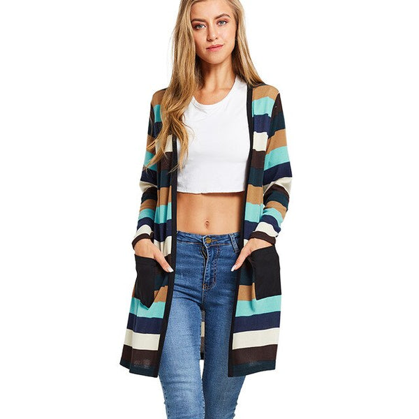 Knitted Kimono Cardigan Women Striped Sweaters 2020 Autumn Thin Knitwear Open Front Pocket Outwear Long Sleeve Knitted Tunics - Creative Dreamscape