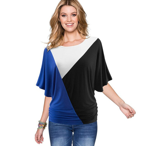 Nice-forever Casual Contrast Color Patchwork T-shirts Draped Loose Summer soft Women Tees tops btyT013 - Creative Dreamscape