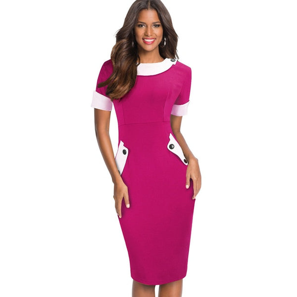 Nice-Forever Vintage Color Block Patchwork Office Dresses Business Bodycon Fitted Women Dress bty832 - Creative Dreamscape