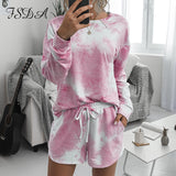 FSDA Summer 2020 Women Set Home Tie Dye Long Sleeve Top Shirt And Shorts White Outfits Casual Suit Loose Two Piece Sets - Creative Dreamscape