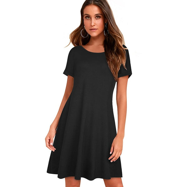 Nice-forever Causal Pure Color Basic Summer Short Dresses Women Straight Shift Loose Dress A211 - Creative Dreamscape