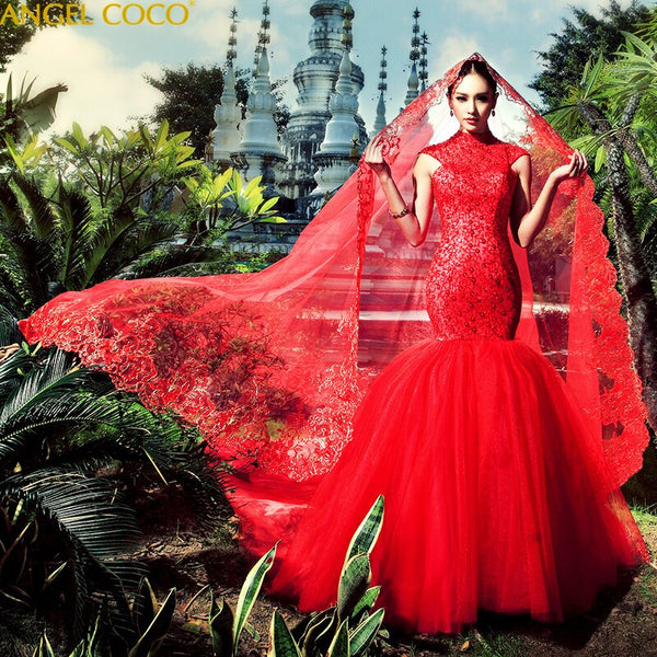 Mermaid Wedding Dresses Luxury princess elegant long plus size vintage Muslim wedding dress 2020 Red Wedding Gowns Bridal Dress - Creative Dreamscape